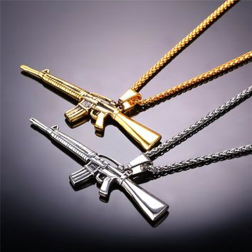 Necklaces Pendants Gold Color Stainless Steel M16 Rifle Charm Necklace American Military Army Style