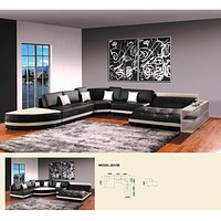 Luxury Modern Dark Brown Leather Sectional Sofa