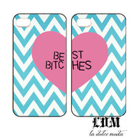 TIFFANY blue CHEVRON best bitches cases one for you one for your best bitch iPhone 4 iPhone 4s iPhone 5 chevron blue pink heart trendy