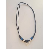 Necklace with White Tooth and Blue Bone Beads