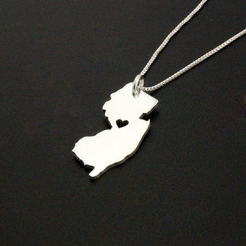 New Jersey State necklace New Jersey necklace sterling silver state necklace with heart comes with Box chain