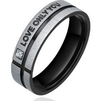 """Stainless Steel """"LOVE ONLY YOU"""" W. Cubic Zirconia 6mm Couple Engagement Wedding Bands Promise Ring Mens (Black and Silver Color) Ladies (Silver Color)"""