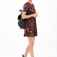 FOREVER 21 Woven Floral Babydoll Dress Wine/Cream