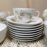 Tea cups & saucers Victoria Austria cups and saucers-Bohemian Floral set of 8 Pink roses, green leaves, blue ferns, gold trim