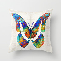 Colorful Butterfly Art by Sharon Cummings Throw Pillow by Sharon Cummings
