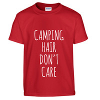 Camping Hair Don't Care Kids' T-Shirt