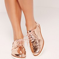 Missguided - Metallic Brogues Rose Gold