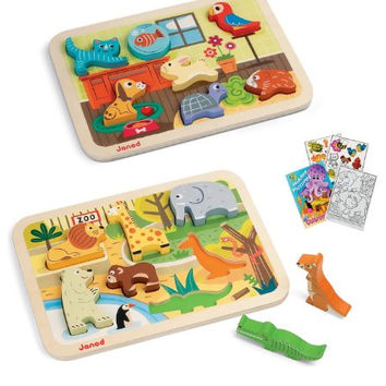 Janod 07022 Zoo Animal & 07024 House Pets Chunly Puzzles with Coloirng Book