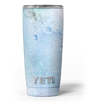 The Light Blue Cratered Moon Surface - Skin Decal Vinyl Wrap Kit compatible with the Yeti Rambler Cooler Tumbler Cups