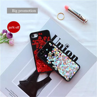 Luxury Glitter loving heart sequins dynami Liquid black quicksand Case For iPhone 7 7plus 6 6s 6plus 6splus Plastic Covers -0318
