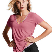 Super Soft Cross Front Tee - PINK - Victoria's Secret
