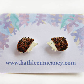Hedgehog stud animal earrings