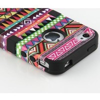 Black 3-Piece Tribal Pattern High Impact Hard Case Cover For iPhone 4 4S 4G