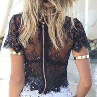 Women Black Floral Lace top