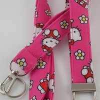 Hello Kitty Lanyard Kitty Key Fob Grad Gift Lanyard  Pink Feline Lanyard Pink Feline Key Holder Hello Kitty Key Fob