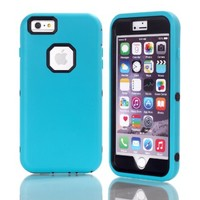 Iphone 6 Plus Case, 3 In 1 Hybrid High Impact Plastic And Silicone Back Case Pure Color By Shimu Soft Case Cover Fit For 5.5 Inch Iphone 6 Plus Blue And Black