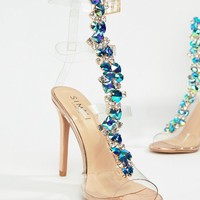 Simmi London Lucia rose gold blue stone clear strappy stiletto sandals at asos.com