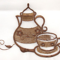 Coffee Pot 3 Pc Embroidered Kitchen Curtain Set Dahdoul Home Beige Sheer Valance