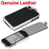 Black Flip Leather Chrome Case Cover Skin for iPhone 4 4S 4G