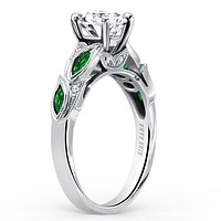 Kirk Kara Dahlia Green Tsavorite Garnet Leaf Diamond Engagement Ring