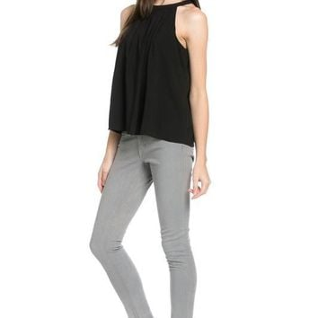 pleated circle neck bowback top