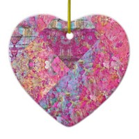 Love Song Double-Sided Heart Ceramic Christmas Ornament