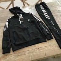Adidas : fashion Zipper Hooded cardigan long sleeve pants two piece suit hoodie suit black H-A-GHSY-1