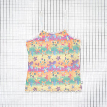 90's Mesh Top, Floral Daisy Cami Top, 90's Kid, Beach Top, Lisa Frank, Clueless, Rave, Club Kid, Soft Grunge,Tumblr, S