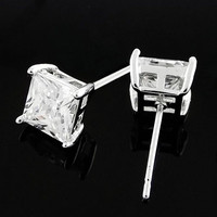 18K white Gold GP Men Princess Square Clear Black CZ stone Stud Earring