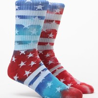 On The Byas Stars And Dyes Crew Socks - Mens Socks - Red/White/Blue - One