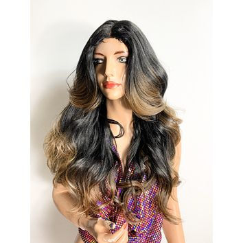 """26"""" BALAYAGE VOLUME CURLS. Lovely long volume curly lace front hair wig + Middle part & fringe volume layers and bangs!   620"""
