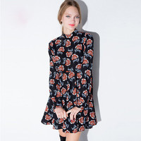 Floral Print High Collar Ruffled Swing Dress