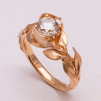Leaves Engagement Ring No. 7 - 14K Rose Gold and Moissanite engagement ring, leaf ring, 1ct Moissanite, moissanite engagement ring