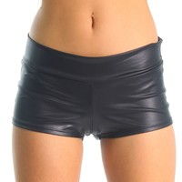 Black (Metallic) Solid Color Booty Shorts