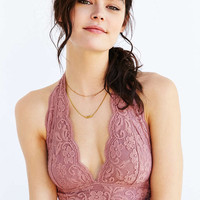 Mauve Lace Halter Bra - Urban Outfitters