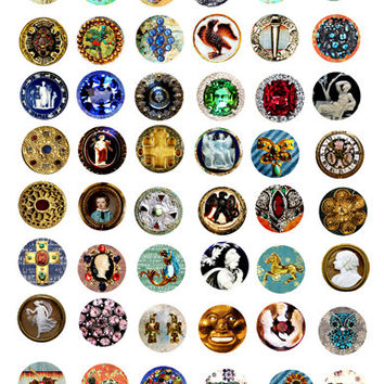"""crystal jewelry cameo images digital download printable collage sheet 1"""" circles for pendants, bezel settings, magnets, DIY craft"""