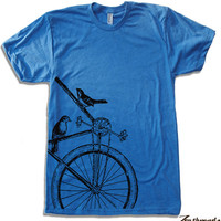 Mens SPARROWS on a BIKE T Shirt american apparel S M L XL (17 Colors Available)