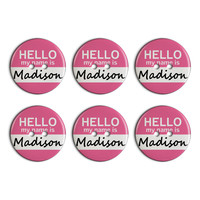 Madison Hello My Name Is Plastic Resin Button Set of 6