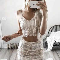 Deep V Neck Two Pieces Tight Homecoming Dress