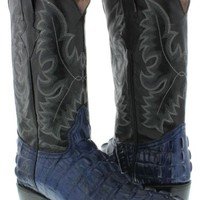 Men's crocodile alligator tail blue leather cowboy boots biker new j toe TWest