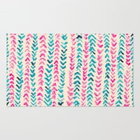 Hand Painted Herringbone Pattern in Pink & Turquoise Area & Throw Rug by Tangerine-Tane | Society6