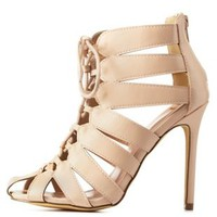 Taupe Caged Cut-Out Lace-Up Heels by Charlotte Russe