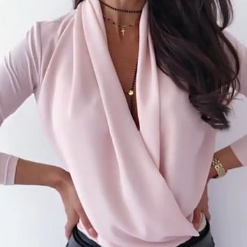 Ladies' new style hot sale fashion long-sleeved deep V-neck top