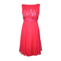 1960s PINK CHIFFON COCKTAIL PARTY DRESS w SEQUINS  BOW