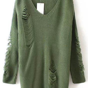 Army Green V-Neckline Ripped Sweater