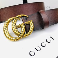 GUCCI simple embossed letter double G buckle belt