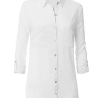 LE3NO Womens Lightweight Loose Button Down Collar Shirt Blouse (CLEARANCE)