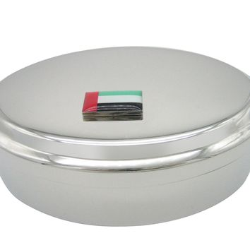 United Arab Emirates UAE Flag Pendant Oval Trinket Jewelry Box