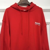 Balenciaga Long Sleeve Hedging Pullover Sweater Hoodies Red-1