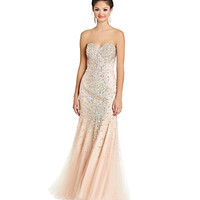 Glamour by Terani Couture Beaded Mesh Trumpet Gown | Dillard's Mobile